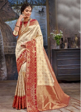 Art Silk Woven Work Beige and Red Designer Contemporary Style Saree