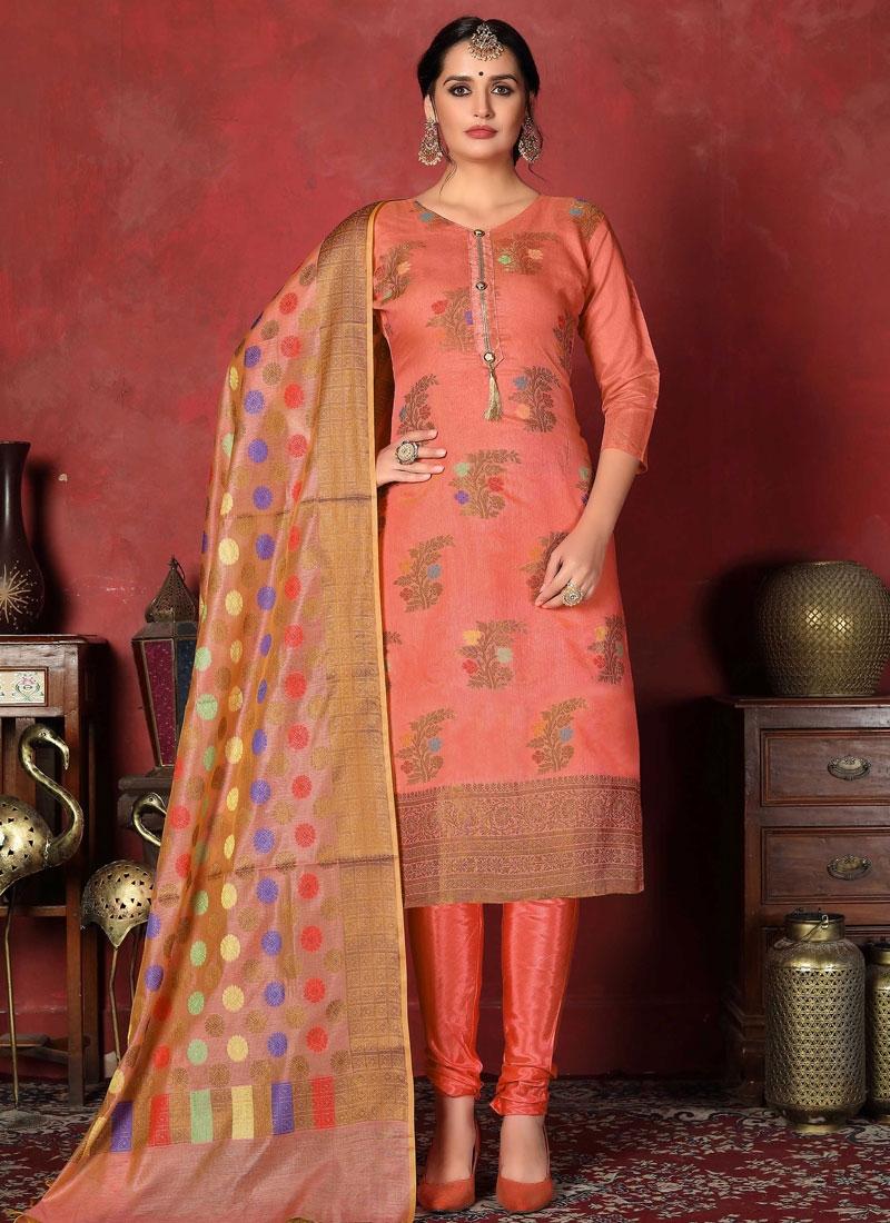Art Silk Woven Work Churidar Salwar Kameez