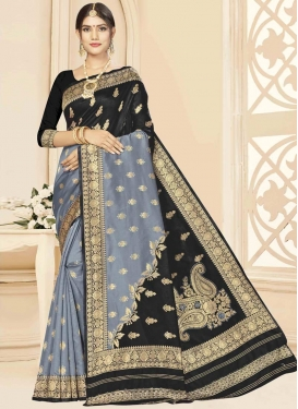 Art Silk Woven Work Contemporary Style Saree