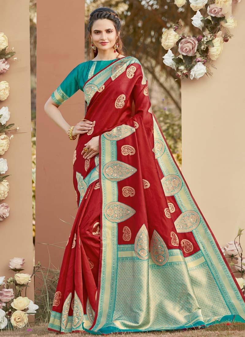 Art Silk Woven Work Contemporary Style Saree