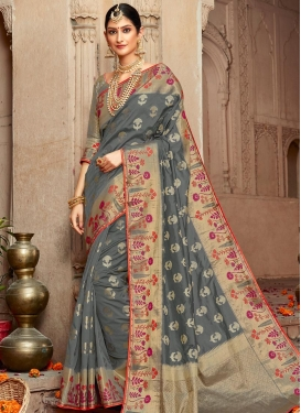 Art Silk Woven Work Designer Contemporary Saree