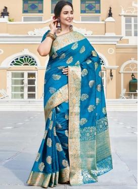 Art Silk Woven Work Designer Contemporary Saree