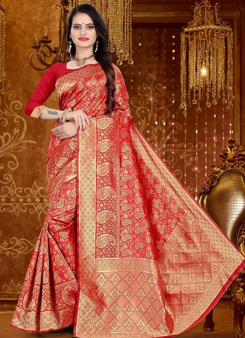 Art Silk Woven Work Designer Contemporary Style Saree