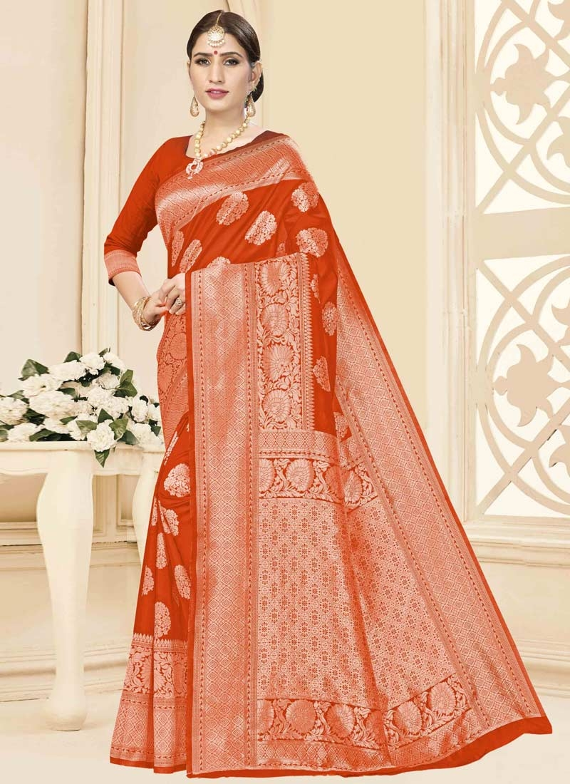 Art Silk Woven Work Designer Contemporary Style Saree
