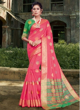 Art Silk Woven Work Green and Hot Pink Designer Contemporary Saree