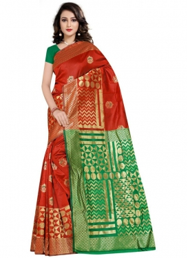 Art Silk Woven Work Green and Red Traditional Designer Saree