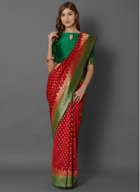 Art Silk Woven Work Green and Red Trendy Classic Saree