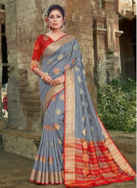 Art Silk Woven Work Grey and Red Designer Traditional Saree