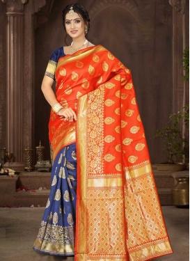 Art Silk Woven Work Half N Half Designer Saree
