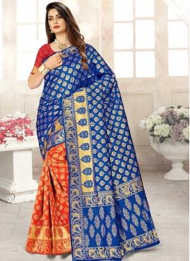 Art Silk Woven Work Half N Half Saree