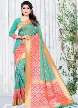 Art Silk Woven Work Hot Pink and Turquoise Designer Contemporary Style Saree