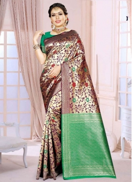 Art Silk Woven Work Maroon and Sea Green Contemporary Style Saree