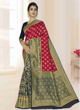 Art Silk Woven Work Navy Blue and Red Half N Half Saree