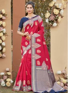 Art Silk Woven Work Navy Blue and Rose Pink Traditional Designer Saree