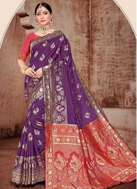 Art Silk Woven Work Purple and Red Designer Contemporary Style Saree