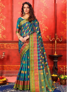 Art Silk Woven Work Purple and Teal Designer Contemporary Saree