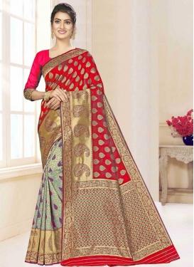Art Silk Woven Work Red and Sea Green Designer Half N Half Saree