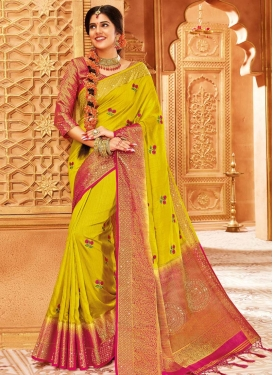 Art Silk Woven Work Rose Pink and Yellow Trendy Classic Saree