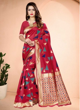 Art Silk Woven Work Traditional Designer Saree