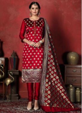Art Silk Woven Work Trendy Churidar Salwar Kameez