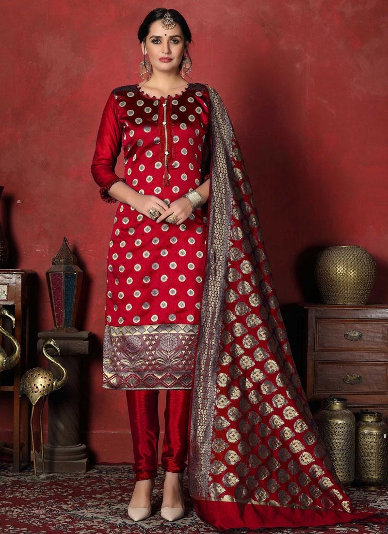 Art Silk Woven Work Trendy Churidar Salwar Kameez