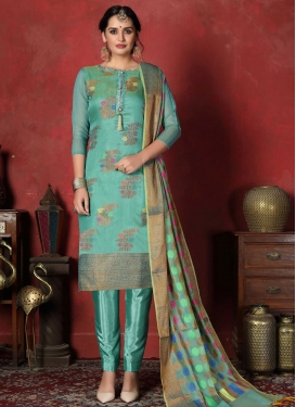 Art Silk Woven Work Trendy Churidar Salwar Suit