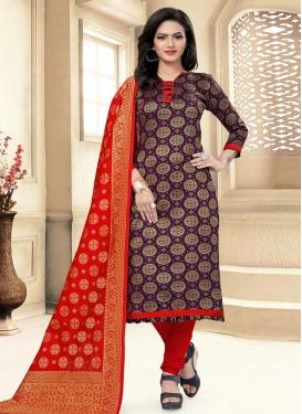 Art Silk Woven Work Trendy Straight Suit