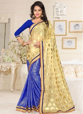 Artistic Blue Lycra Half N Half Trendy Saree