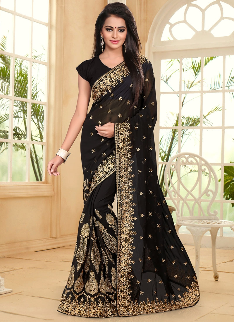 Artistic Booti Work Faux Georgette Contemporary Style Saree