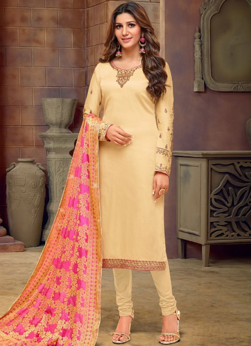 Artistic Cotton Silk Stone Work Churidar Salwar Suit
