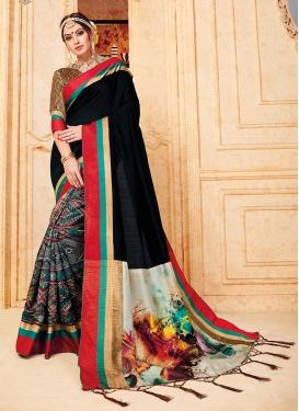 Aspiring Abstract Print Art Silk Multi Colour Traditional Designer Saree