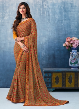 Aspiring Faux Georgette Abstract Print Printed Saree