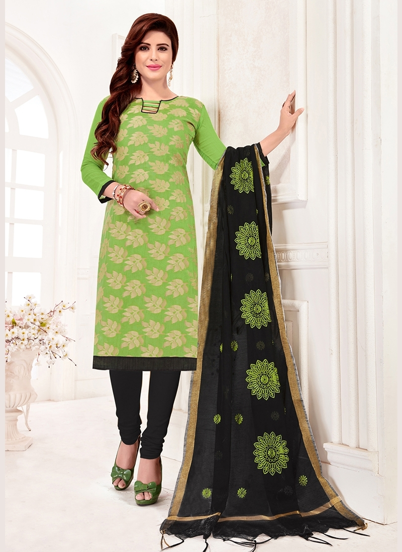 Aspiring Print Jacquard Silk Mint Green Churidar Suit