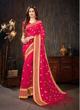 Aspiring Rose Pink Art Silk Silk Saree