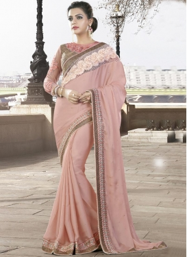 Aspiring Silk Georgette Traditional Saree For Festival