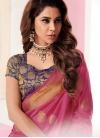 Aspiring Tussar Silk Pink Traditional Designer Saree - 1
