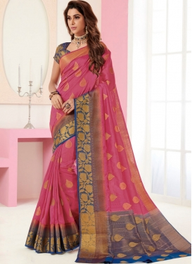 Aspiring Tussar Silk Pink Traditional Designer Saree