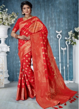 Astonishing Art Silk Red Designer Traditional Saree