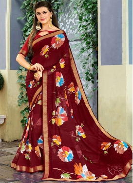 Astonishing Faux Georgette Maroon Printed Classic Saree