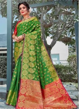 Astonishing Green Ceremonial Traditional Designer Saree