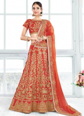Astonishing Lace Work Raw Silk Trendy Lehenga Choli For Bridal