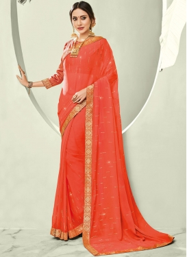Astounding Faux Chiffon Ceremonial Trendy Saree