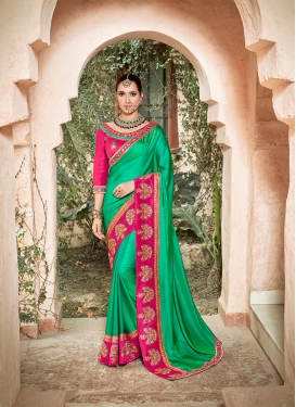 Attractive Embroidered Green Traditional Saree