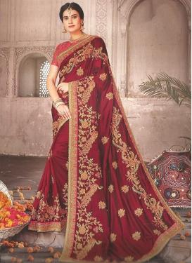 Attractive Embroidered Maroon Satin Silk Classic Saree