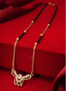 Attractive Gold Rodium Polish Beads Work Alloy Mangalsutra