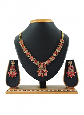 Attractive Stone Work Gold and Red Gold Rodium Polish Necklace Set
