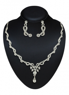 Attractive Stone Work Silver Rodium Polish Necklace Set