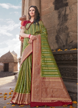 Auspicious Olive Weaving Art Silk Traditional Designer Saree