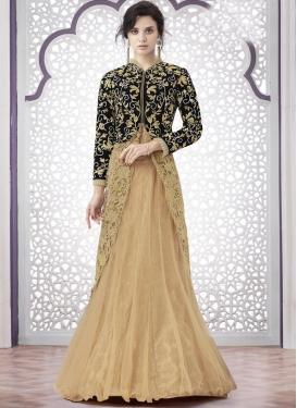 Awe Net Aari Work Designer Long Choli Lehenga