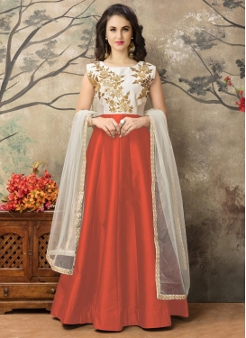 Awe Tafeta Silk Off White and Orange Embroidered Work Long Length Anarkali Salwar Suit